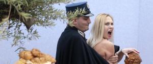 A Femen activist protests in Vatican